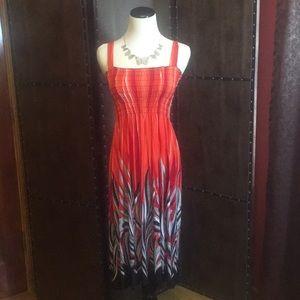 Cute midi/maxi red and black sundress elastic bust